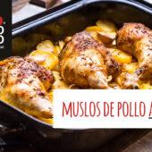 Muslos de pollo al horno con patatas y cebolla