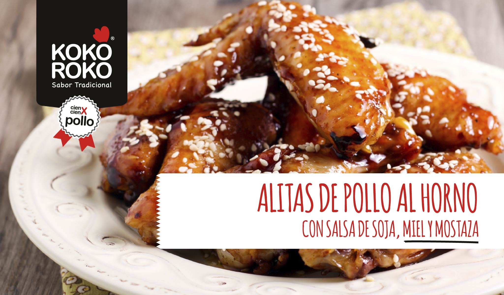 Alitas de pollo al horno con salsa de soja, miel y mostaza