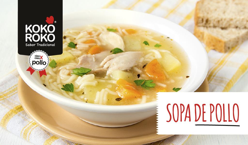 Sopa de pollo casera con garbanzos