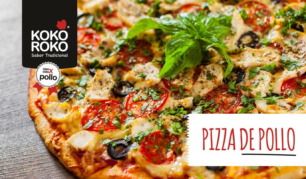 Pizza de pollo con champiñones y queso, ¡masa saludable!