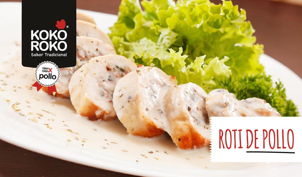 Roti de pollo relleno con salsa de piñones