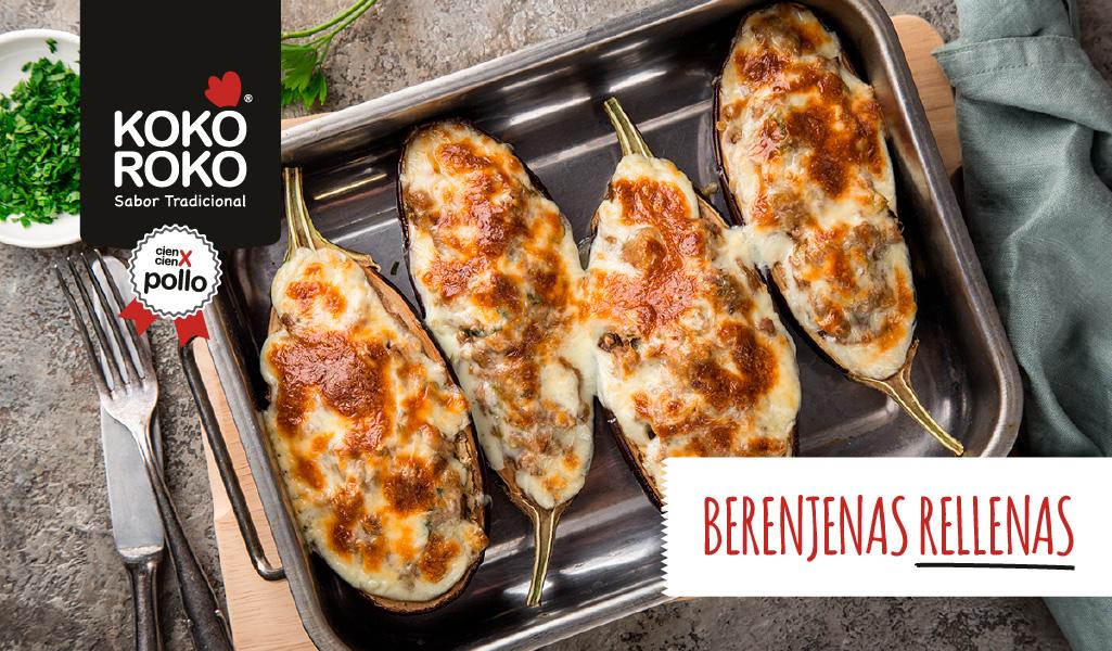 Berenjenas rellenas de pollo al horno, un plato sano y saludable