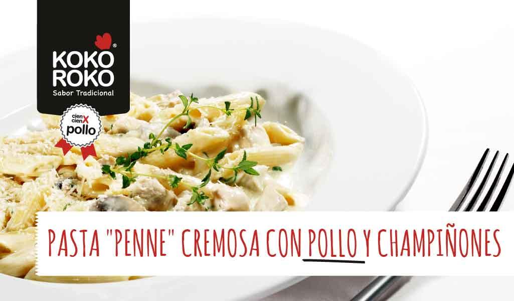 receta-pasta-penne--pollo-champiñones