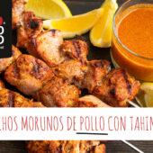Pinchos morunos de pollo con tahini y limón